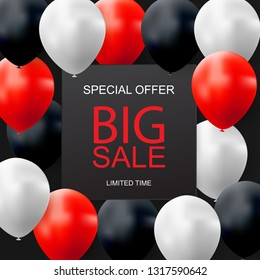 Sale banner with floating balloons. Vector illustration eps10