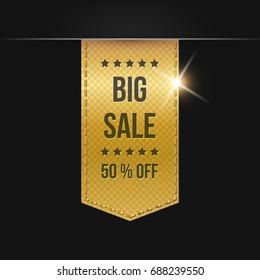 Sale banner. Gold ribbon.Vector illustration.