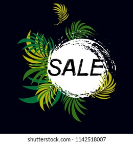 Sale banner with green tropical palm leaves.