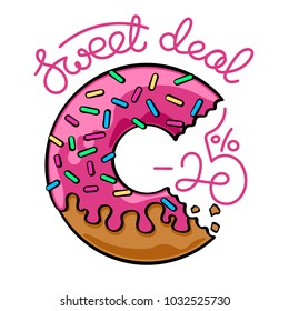 Sale banner with handwritten text and donut illustration. Vector graphics illustration. Editable vector shapes.