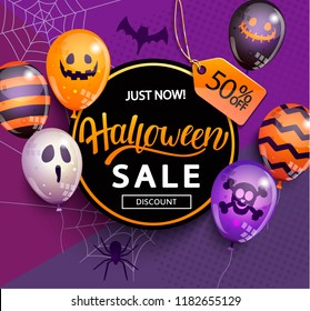 Sale Banner for Happy Halloween holiday with lettering on geometric background with monster balloons.Discount card for web,poster,flyers,ad,promotions,blogs,social media,marketing.Vector illustration.