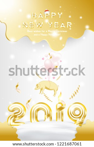 sale banner happy new year 2019 with original gold shining font and super offer 25
