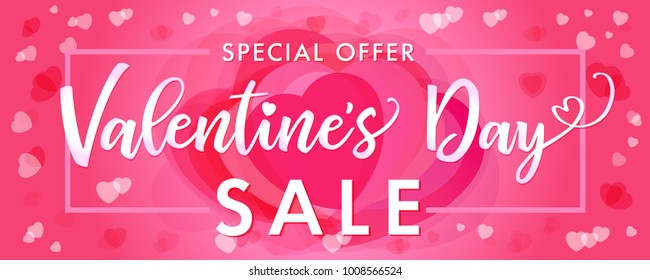 Sale banner Happy Valentines Day elegant lettering on pink hearts. Special offer Valentines Day Sale card template with pink hearts in frame on rose color background. Vector illustration