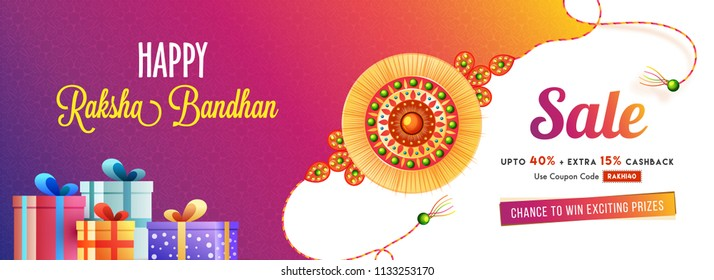 Sale banner or Header design, Up To 40% with Extra 15% Off Offer with Happy Raksha Bandhan text, gift boxes and rakhi illustration.