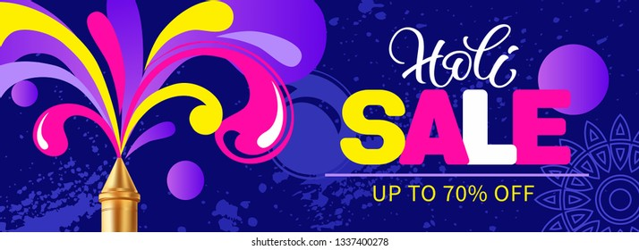 Sale banner for Indian festival Holi (Holika Dahan, Dhulandi) with pichkari (sprayer) and gulal (dye). Vector illustration.