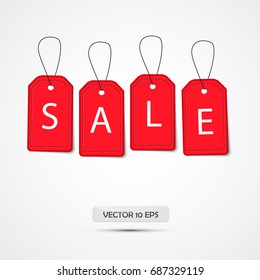 Sale banner. Isolated on white. Vector illustration. Red Sale tags. Best price, special offer.