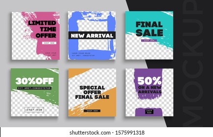 Sale banner layout design. Set of social media web banners for shopping, sale, product promotion.