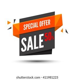 Sale banner. Marketing background. Big sale tag. Modern  poster. Special offer 50 percents off. Vector illustration