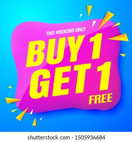 sale banner modern blue.buy 1 get 1 free
