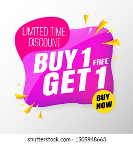 sale banner modern purple.buy 1 get 1 free
