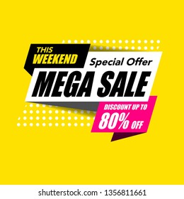 Sale banner modern template design, Mega big sale special offer. end of season special offer banner isolated on yellow background. vector illustration.