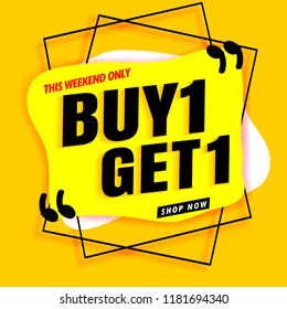 sale banner modern yellow.buy 1 get 1 free