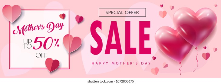 Sale banner for Mother's Day, Women's Day, floral background, blossom, balloon, hearts. Spring holiday decoration, shopping card, voucher, gift vector pink fashion poster, paper cut, origami texture.