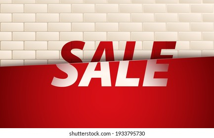 Sale banner on beige brick wall background. Template design for posters, flyers, brochures. Vector illustration