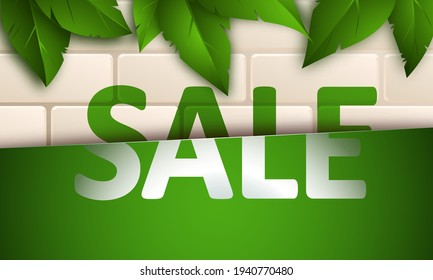 Sale banner on beige brick wall background with green leaves. Template design for posters, flyers, brochures. Vector illustration