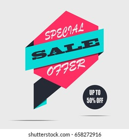 Sale banner on a light background. Red discount poster, Sale tag, label, badge. Special offer, Up to 50% off. Vector illustration, eps10
