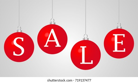 Sale banner on red glossy Christmas balls isolated on white background. White letters. Vector Illustration for sale banner, template, poster, flyer, web, app. Red sphere with metal silver chain.