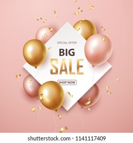 Sale banner with pink and gold floating balloons. Vector illustration.