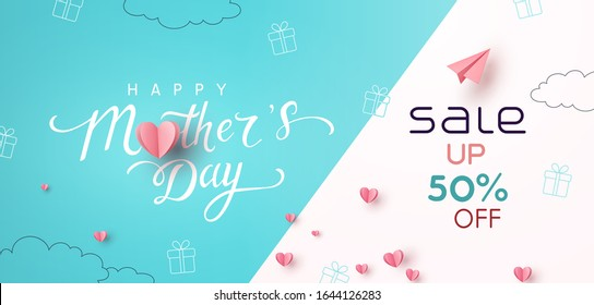 Sale banner with pink paper hearts. Special offer poster background. Vector Mother's Day sale discount promotion.