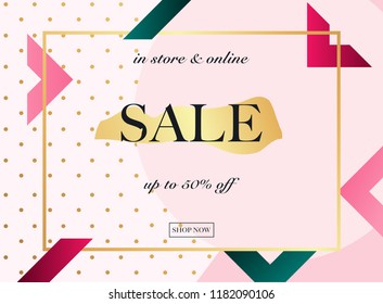 Sale Banner. Poster, Flyer, Vector. Slices of watermelon on a background.
