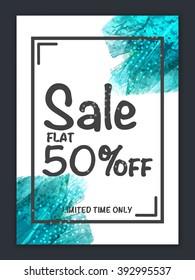Sale Banner, Sale Poster, Sale Flyer, Sale Vector. Flat 50% Off, Vector illustration.