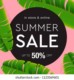 Sale banner, poster with palm leaves, jungle leaf and lettering. Floral tropical summer background, vector illustration.