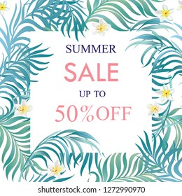 Sale banner, poster with palm leaves, hibiscus and lily flowers. Summer discount background. Vector illustration.