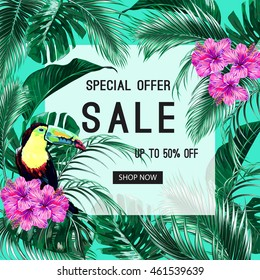 Sale banner, poster. Toucan, tropical flowers, palm leaves, hibiscus, paradise. Beautiful vector floral jungle summer background