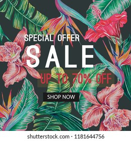 Sale banner, poster with tropical flowers, jungle leaves, hibiscus, orchid, bird of paradise flower. Vector exotic dark background, season vacation, voucher discount. Botanical decorative illustration