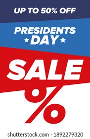 Sale banner for Presidents Day. Special offer template. Holiday shopping in United States. Super season deal. 50% off. Discount badge. Creative advertisement patriotic american poster