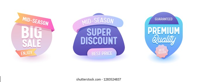 Sale Banner Promo Collection Best Price Offer. Online Advertising Campaign Special Coupon Line Label Badge Geometric Design. Business Colorful Neon Gradient Promotion Element 3d Vector Illustration