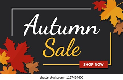 Sale banner promotion autumn season on dark background with falling maple leaves and text. Autumn season and shopping online theme, flat vector illustration