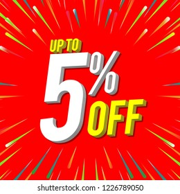 sale banner red 5% off. 3D vector