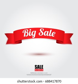 Sale banner in red ribbon concept design on green stribe background,vector illustration.