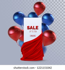 Sale banner with red silky fabric and balloons. Decoration element for design. Vector realistic illustration. Paper sign and realistic textile with folds and drapes isolated on transparent background