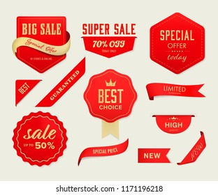 Sale banner and red  tag label and badge vintage design.