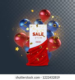 Sale banner with red velvet fabric, balloons and confetti. Decoration element for design. Vector illustration. Paper sign and realistic textile with folds and drapes isolated on transparent background