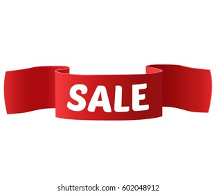 Sale Banner. Ribbon. Vector Illustration
