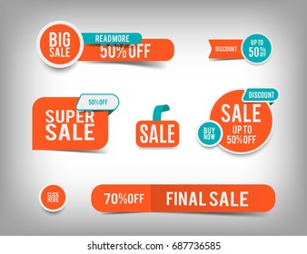 Sale banner set, discount tag collection, special offer. Modern website stickers on a gray abstract background, color web page design