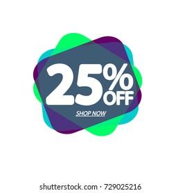 Sale banner, speech bubble tag, 25% off, element design template, app icon, vector illustration