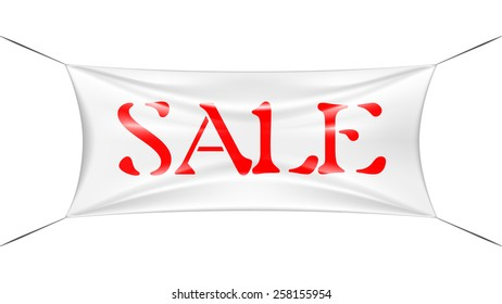 Sale banner stretched with wire, 3d look shading. Vector illustration.
