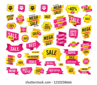 Sale banner. Super mega discounts. Sale arrow tag icons. Discount special offer. 50%, 60%, 70% and 80% percent sale signs. Black friday discounts. Cyber monday. Vector