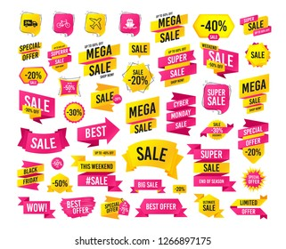 Sale banner. Super mega discounts. Cargo truck and shipping icons. Shipping and eco bicycle delivery signs. Transport symbols. 24h service. Black friday. Cyber monday. Vector