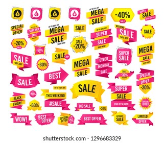 Sale banner. Super mega discounts. Money bag icons. Dollar, Euro, Pound and Yen speech bubbles symbols. USD, EUR, GBP and JPY currency signs. Black friday. Cyber monday. Vector