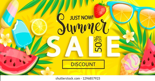 Sale banner with symbols for summer time such as ice cream,watermelon,strawberries,sunglasses,lemon.Vector illustration of discount template card, wallpaper,flyer,invitation, poster,brochure,voucher.