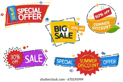 Sale banner tag. Set of colored stickers and banners. Geometric shapes. Big set of beautiful discount and promotion banners. Advertising element. Modern banners in the memphis style
