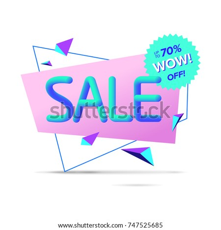 sale banner template colorful letters geometric stock vector