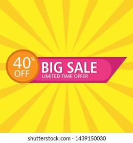 sale banner template design.big sale 40% off,end of season special offer banner. vector illustration.