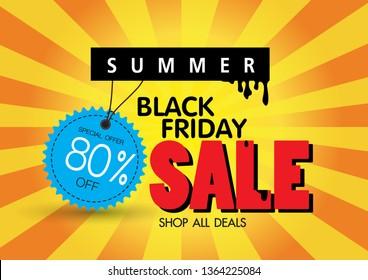 Sale banner template design, 80% Summer sale special offer. end of season Black friday  banner. vector illustration