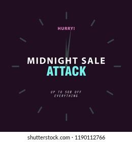 Sale banner template design background. Midnight sale